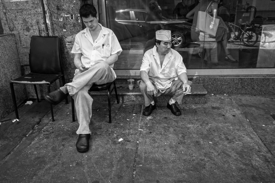 texting and smoking in Chinatown