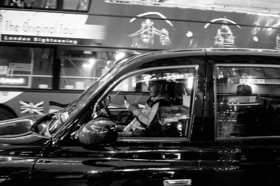 London Cab b&w